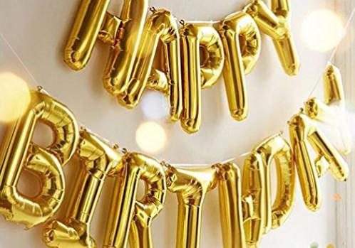 HAPPY BIRTHDAY Gold Letter Balloons